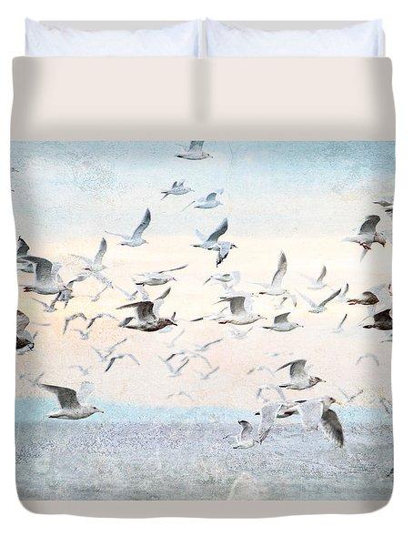 Gulls Flying Over The Ocean Duvet Cover