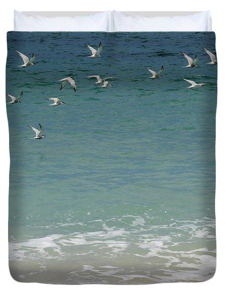 Gulls Flying Over The Ocean Duvet Cover by Zina Stromberg