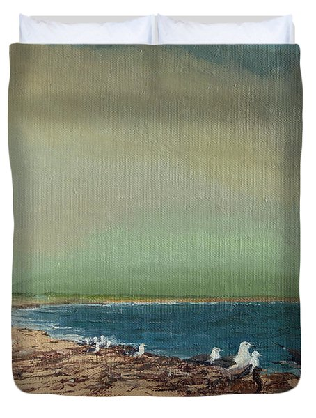 Gulls On The Seashore Duvet Cover