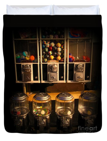 Gumball Memories - Row Of Antique Vintage Vending Machines - Iconic New York City Duvet Cover by Miriam Danar