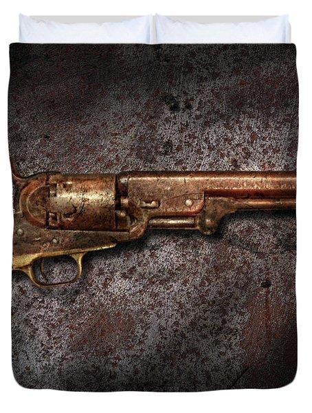 Gun - Colt Model 1851 - 36 Caliber Revolver Duvet Cover by Mike Savad