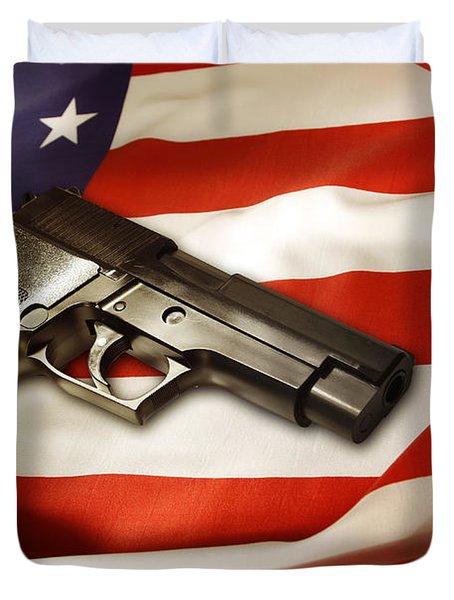 Gun On Flag Duvet Cover