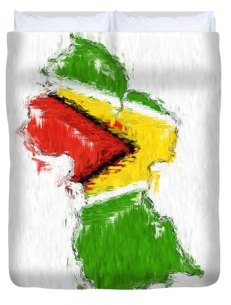 Guyana Painted Flag Map Duvet Cover