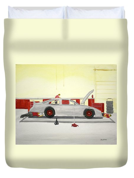 Guys Back At The Shop Duvet Cover