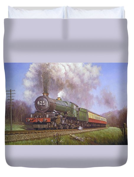 Gwr King Class On Dainton Bank. Duvet Cover by Mike  Jeffries