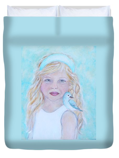 Gwyneth Little Earth Angel Of Happiness Duvet Cover by The Art With A Heart By Charlotte Phillips