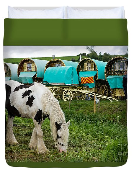 Duvet Cover featuring the photograph Gypsy Cob And Wagons by Liz  Alderdice