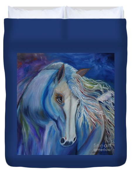 Duvet Cover featuring the painting Gypsy Shadow by Jenny Lee
