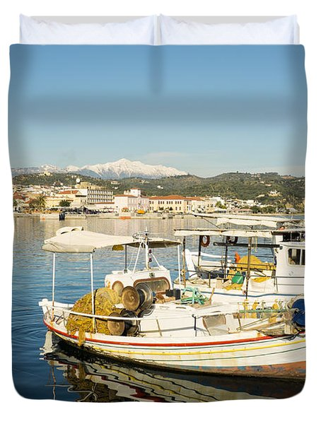 Gytheion Harbour Duvet Cover by Mike Santis