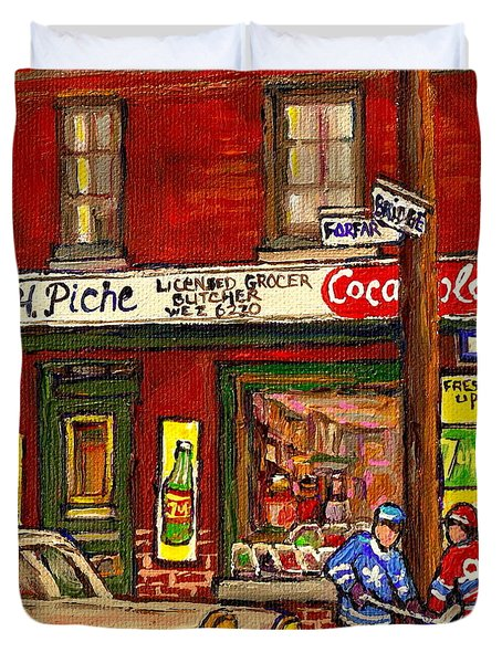 H. Piche Grocery - Goosevillage -paintings Of Montreal History- Neighborhood Boys Play Street Hockey Duvet Cover by Carole Spandau