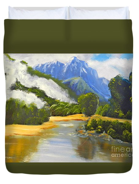 Duvet Cover featuring the painting Haast River New Zealand by Pamela  Meredith