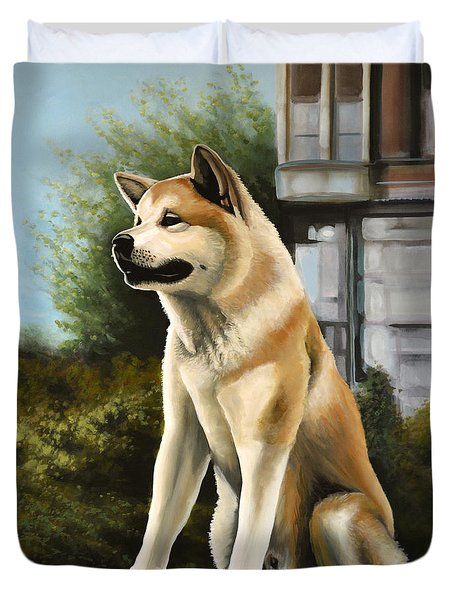 Hachi Painting Duvet Cover by Paul Meijering