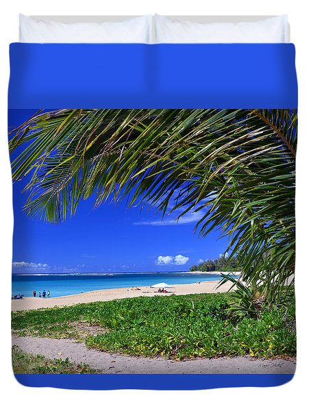 Haena Beach Turquoise Cove Duvet Cover by Marie Hicks