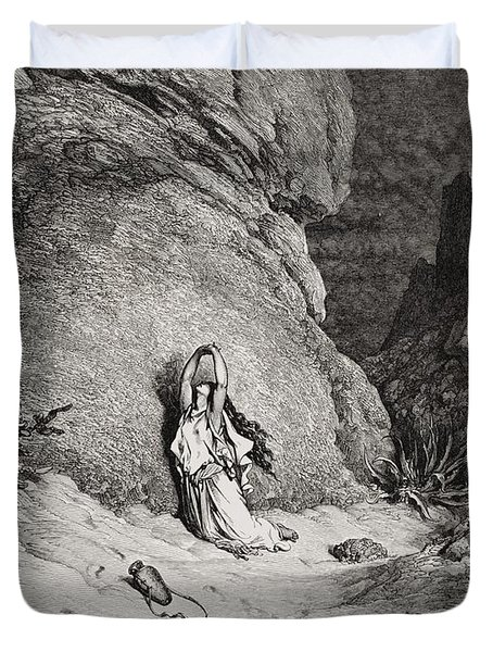 Hagar And Ishmael In The Desert Duvet Cover by Gustave Dore