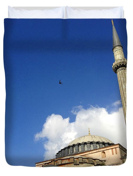 Hagia Sophia With Two Minarets Istanbul Turkey Duvet Cover by Ralph A  Ledergerber-Photography