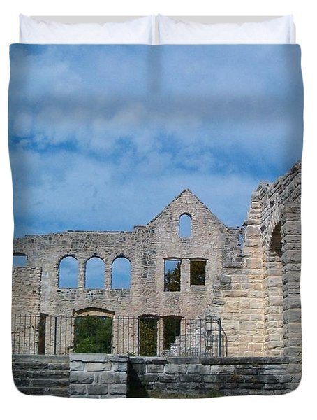 Duvet Cover featuring the photograph Haha Tonka Castle 1 by Sara  Raber