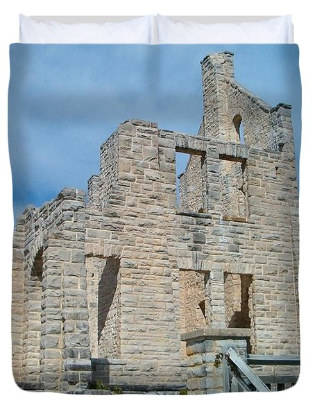 Duvet Cover featuring the photograph Haha Tonka Castle 2 by Sara  Raber