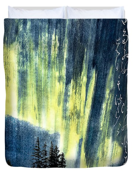 Duvet Cover featuring the photograph Haiga Poster Haiku Canada Conference  by Peter v Quenter
