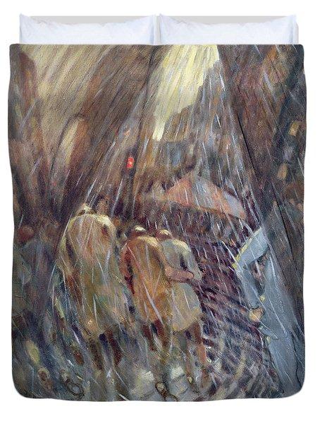 Hail On Sixth Avenue, New York City, 1987 Oil On Canvas Duvet Cover
