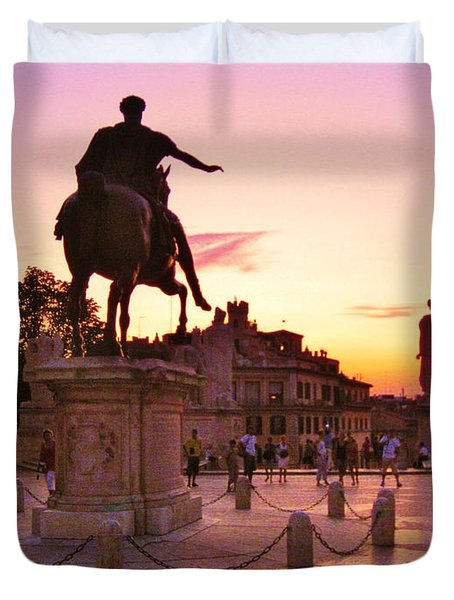 Hail To All The Little Tourists Duvet Cover by John Malone