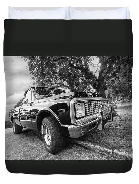 Halcyon Days - 1971 Chevy Pickup Bw Duvet Cover