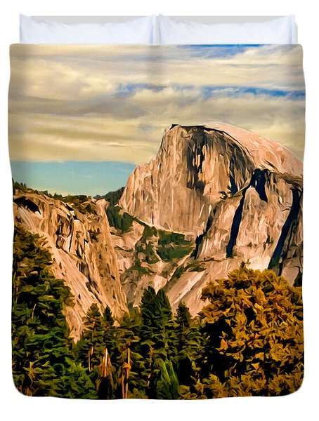 Half Dome Painting Duvet Cover by Bob and Nadine Johnston