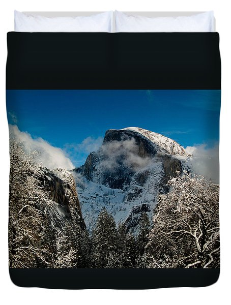 Half Dome Winter Duvet Cover by Bill Gallagher