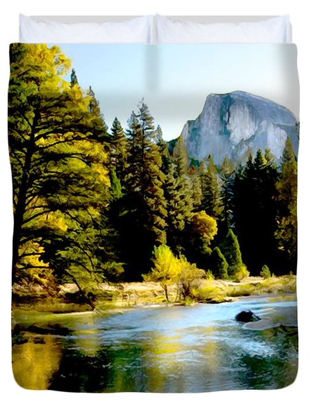 Half Dome Yosemite River Valley Duvet Cover by Bob and Nadine Johnston