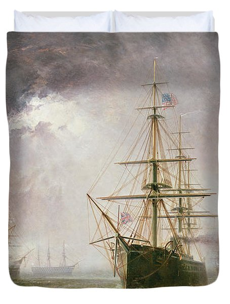 Half Mast High 19th Century Duvet Cover by  Robert  Dudley