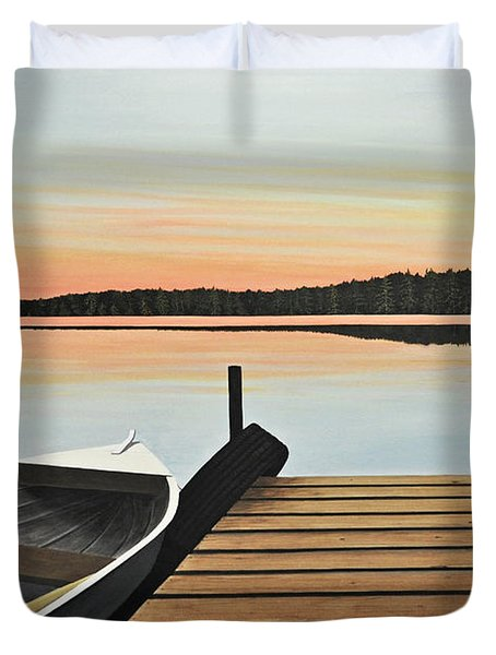 Duvet Cover featuring the painting Haliburton Dock by Kenneth M  Kirsch