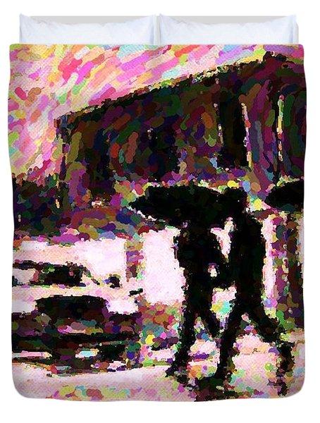 Halifax Nova Scotia On In The Rain Duvet Cover by John Malone johnmaloneartistcom
