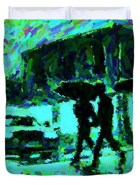 Halifax On A Rainy Night Duvet Cover by Halifax Artist John Malone