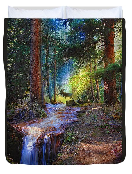 Hall Valley Moose Duvet Cover by J Griff Griffin