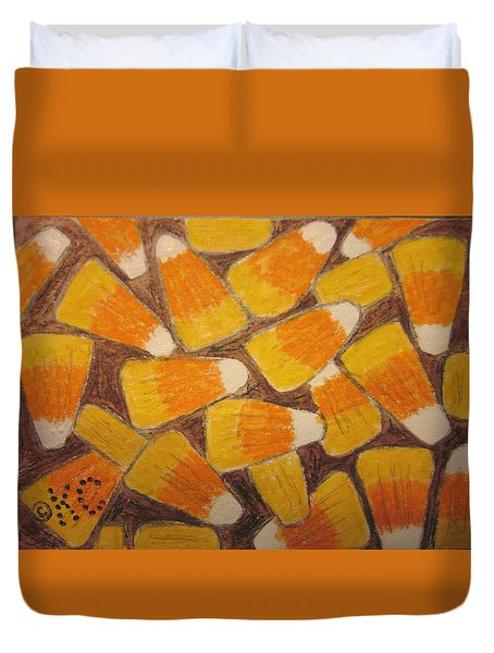 Halloween Candy Corn Duvet Cover by Kathy Marrs Chandler