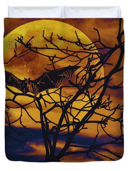 Halloween Full Moon Terror Duvet Cover by David Mckinney