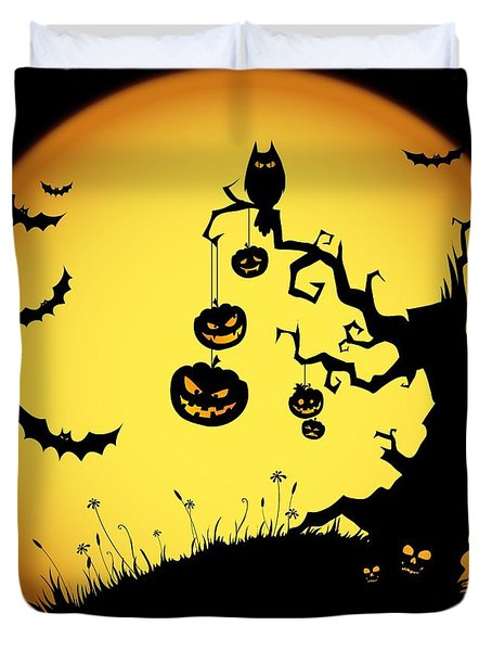 Halloween Haunted Tree Duvet Cover by Gianfranco Weiss