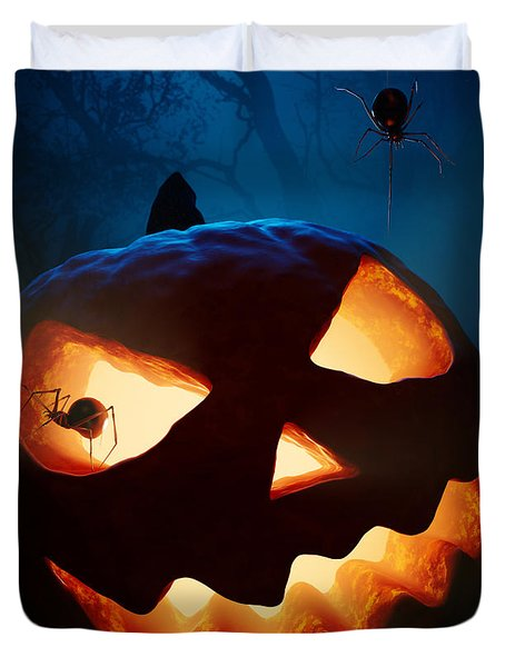 Halloween Pumpkin And Spiders Duvet Cover