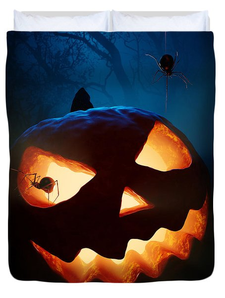 Halloween Pumpkin And Spiders Duvet Cover by Johan Swanepoel