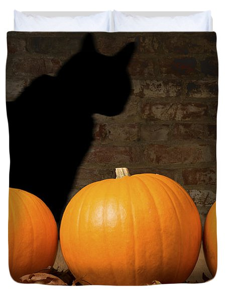 Halloween Pumpkins And The Witches Cat Duvet Cover by Amanda Elwell
