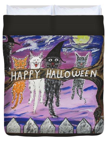 Halloween Scaredy Cats Duvet Cover