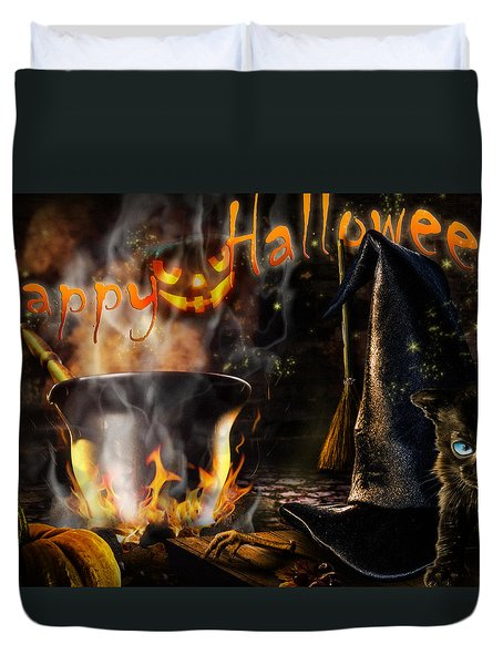 Halloween' Spirit Greeting Card Duvet Cover