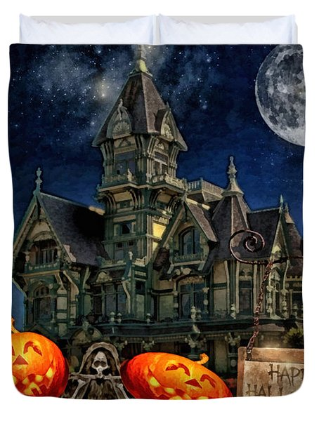 Halloween Spot Duvet Cover by Mo T