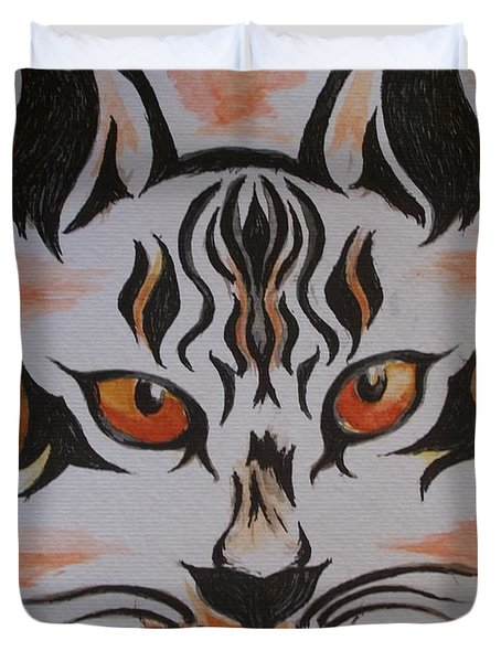 Duvet Cover featuring the painting Halloween Wild Cat by Teresa White