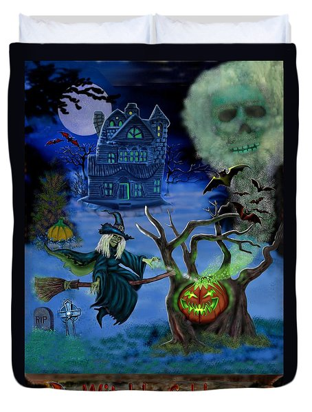 Halloween Witch's Coldron Duvet Cover by Glenn Holbrook
