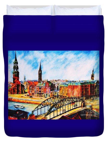Hamburg - The Beauty At The River Duvet Cover