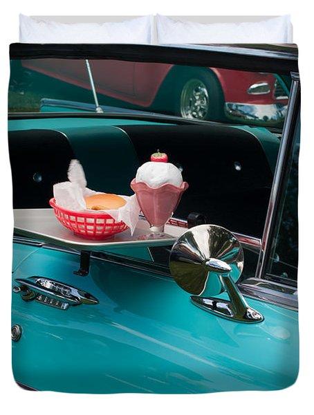 Duvet Cover featuring the photograph Hamburger Drive In Classic Car by Gunter Nezhoda