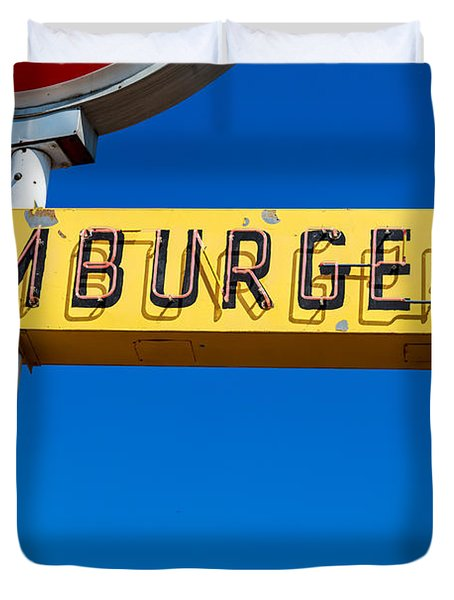 Hamburgers Old Neon Sign Duvet Cover
