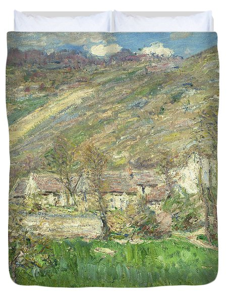 Hamlet In The Cliffs Near Giverny Duvet Cover by Claude Monet