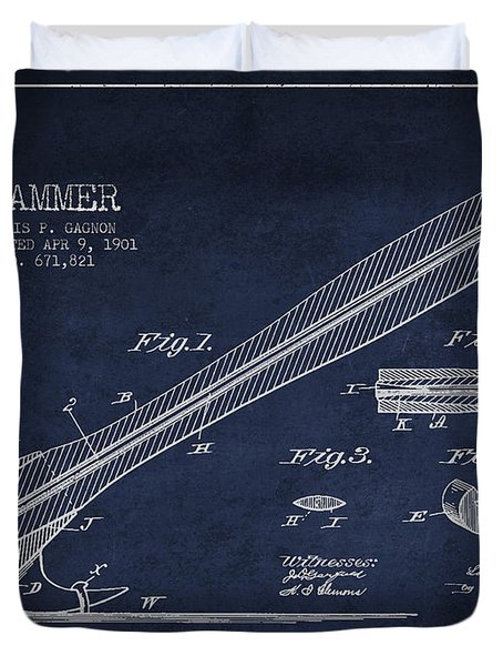 Hammer Patent Drawing From 1901 Duvet Cover by Aged Pixel