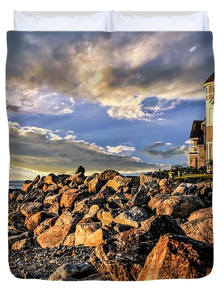 Hampton Beach Sunrise Duvet Cover by Fred Larson